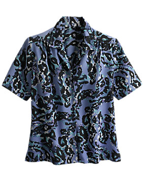 Purple Print Donnkenny® Camp Shirt