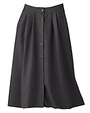 Button Front Pleated Skirt