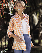 Gingham Big Shirt with Pintucks