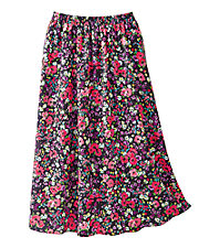 Black Floral Challis Skirt