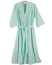 Embroidered Yoke Wrap Robe