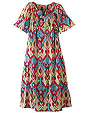 Scoop Neck Crinkle Cotton Dress