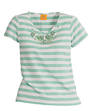 Embellished Yarn-Dyed Stripe Top
