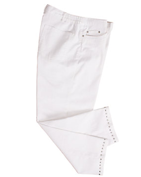 Embellished White Capri Pants