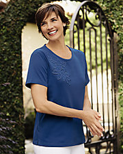 Ultrasofts® Lightweight Floral Applique Top
