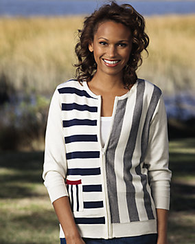 Stripe Zip Front Sweater