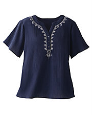 Breezy Crinkle Embroidered Top