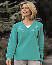 Lightweight Fleece Henley Pullover
