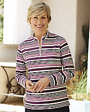 UltraSofts® Stripe Half Zip Mock Neck
