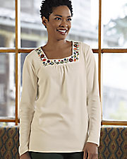 Ultrasofts® Embroidered Square Neck Top