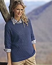 ¾ Sleeve Pointelle Sweater