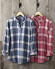 Pleat Front Flannel Henley