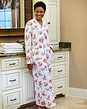 Long Floral Quilted Robe