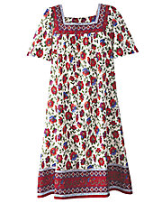 Fall Floral Border Print Dress