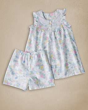 Ruffle Trim Shortie Pajamas