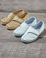 Jewel Quilted Satin Slippers