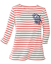Coral Embroidered Stripe Tee