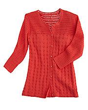 Sunkist Coral Crocheted Cardigan