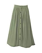 Button-Front Challis Skirt