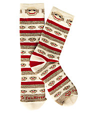 Red Heel Monkey Stripe Socks
