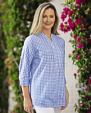Gingham ¾ Sleeve Tunic