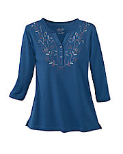 UltraSofts® Floral Embroidered Top