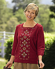 Embroidered Square Neck Sweater