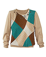 Alfred Dunner® Colorblock Pointelle Sweater