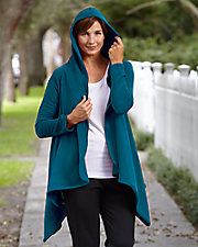 Fleecewear with Stretch Long Sleeve Hooded Wrap Up