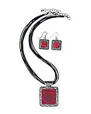 Marbled Enamel Necklace Set