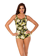 Shirred Front Girl Leg Swimsuit