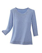 Jacquard Knit ¾ Sleeve Top