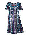 Square Yoke Printed Dress