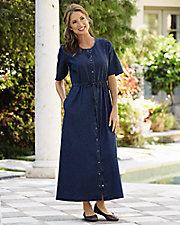 Snap Front Denim Dress