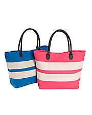 Colorblock Stripe Canvas Tote