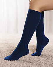 Wide Calf Cable Knit Knee Socks
