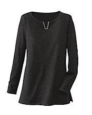 Notch-Neck Tunic Sweater