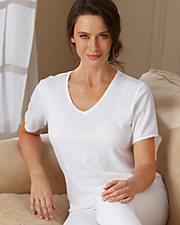 Cuddl Duds® Lace Trim Short Sleeve Thermal Top