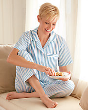 Short Sleeve Striped Woven Pajamas
