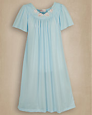 Periwinkle Embroidered Roses Nightgown