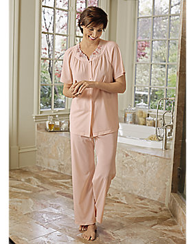 Embroidered Roses Pajamas
