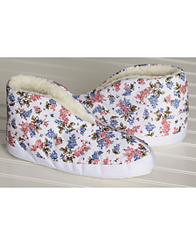 Floral Quilted Foot Warmer Slippers