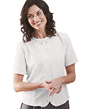 White Short Sleeve Weskit Blouse