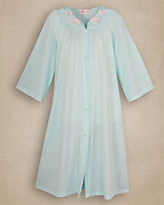 Seafoam Embroidered Roses Robe