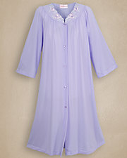 Periwinkle Embroidered Roses Robe