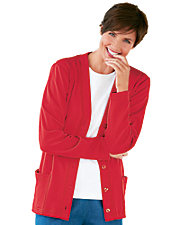 Red Button-Front Knit Cardigan