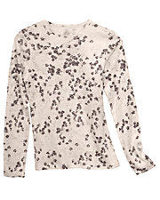 Pink Print Cuddl Duds® Long Sleeve Tailored Thermal Top