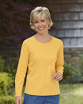 Long Sleeve Picot-Trim Tee