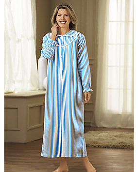 Long Striped Flannel Nightgown