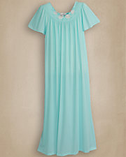 Seafoam Embroidered Roses Long Nightgown